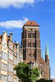 16th century brick gothic St. Mary's Church, exterior, Gdansk, Poland