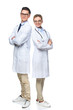 Leinwandbild Motiv doctors standing with crossed arms and looking at camera isolated on white