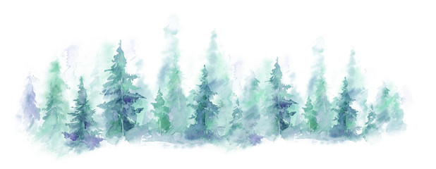 Blue landscape of foggy forest, winter hill. Wild nature, frozen, misty, taiga. watercolor background © Leyasw