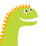 Dinosaur face. Cute cartoon funny dino baby character. Flat design. Green and orange color. White background. Isolated © worldofvector