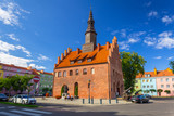 Town hall and market square in Morag, Poland - 215778152