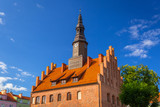 Town hall and market square in Morag, Poland - 215778193