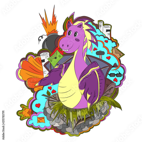 Dragon in the clouds, bright, hand-drawn