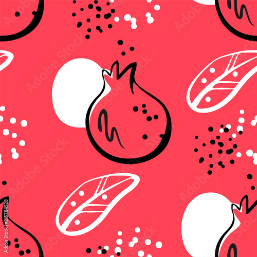 Abstract pattern with pomegranate and graphic elements on red background. Ornament for textile and wrapping. Vector. - 215784528