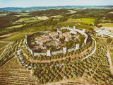 Aerial view of Monteriggioni in summer season, Tuscany