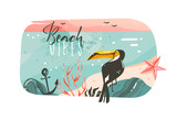Hand drawn vector abstract cartoon summer time graphic illustrations art template banner background with ocean beach landscape,pink sunset view,beauty toucan with Beach vibes typography quote - 215789916