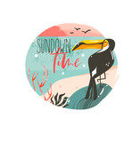 Hand drawn vector abstract cartoon summer time graphic illustrations template background badge design with ocean beach landscape,pink sunset and beauty toucan bird with Sundown time typography text - 215789975