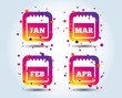 Calendar icons. January, February, March and April month symbols. Date or event reminder sign. Colour gradient square buttons. Flat design concept. Vector - 215790596