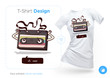 Old audio cassette t-shirt design. Print for clothes, posters or souvenirs. Vector