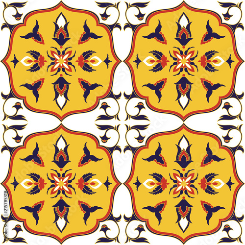 Spanish tile pattern vector seamless with flower ornaments. Portugal azulejo, mexican talavera, italian sicily majolica motif. Tiled background for ceramic kitchen wall or bathroom mosaic floor. - 215795319
