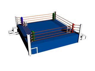 Blauer Boxring im Sportstudio