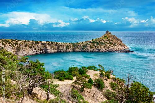 Sea and mountains scenic landscape. Summer seascape