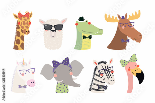 In de dag Hipster Hert Set of cute funny trendy animals unicorn, zebra, llama, flamingo, giraffe, moose, crocodile, elephant. Isolated objects on white. Vector illustration. Scandinavian style design Concept kids print