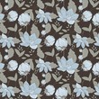 Nature pattern with flowers on brown background	