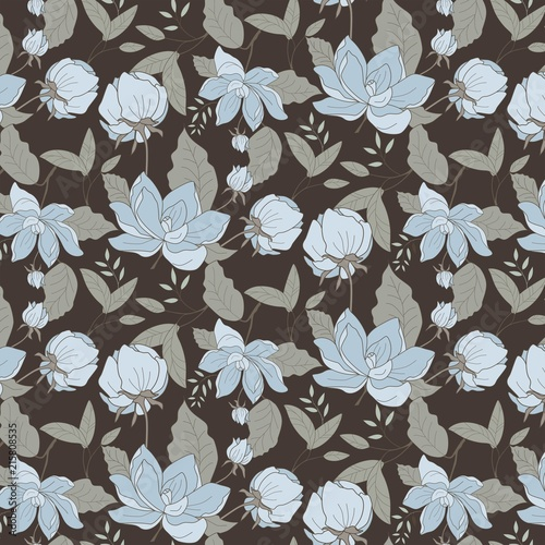 Nature pattern with flowers on brown background  - 215808535
