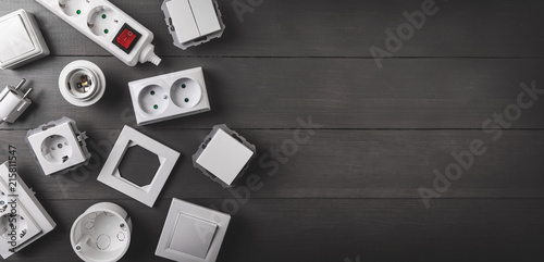 electrical equipment on gray wooden background with copy space