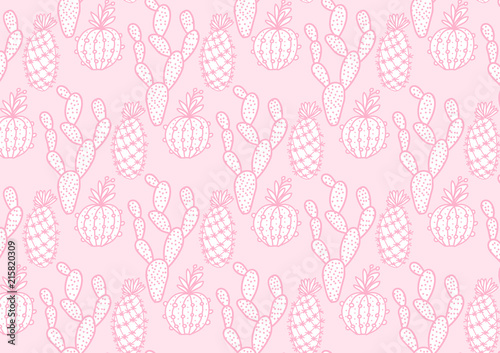 Cute cactus hand drawing wide card. Vector illustration cacti isolated on pink background. - 215820309