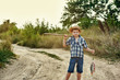 The Fisher boy going fishing .Summer active rest of children