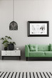 Quadro Poster above green couch next to cupboard with plants in living room interior with lamp. Real photo