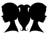 Silhouette Twin Girls Illustration