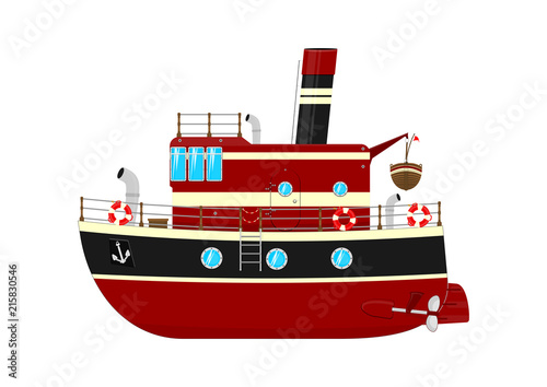 Fototapeta Cartoon ship with a chimney. Retro toy ship. Flat vector design element.