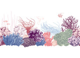 Hand drawn colorful coral reef border - 215834764