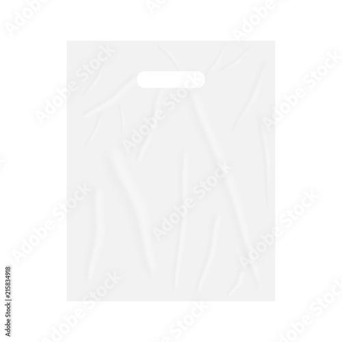 Blank merchandise plastic bag with die cut handles, vector mockup