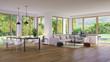 wohnzimmer in luxus villa mit garten - modern living room in luxury villa