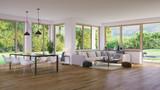 wohnzimmer in luxus villa mit garten - modern living room in luxury villa - 215835552