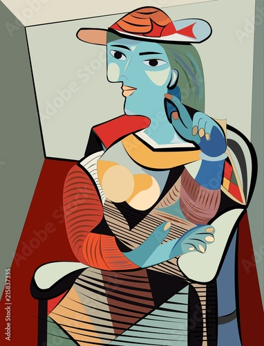 Colorful abstract background, cubism art style, woman with hat - 215837335