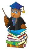 Owl teacher on stack of books theme 1