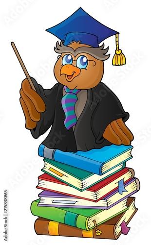 Canvas Voor kinderen Owl teacher on stack of books theme 1