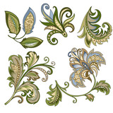 set of vintage decorative flowers with leaves - 215840118