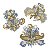 set of vintage decorative flowers with leaves - 215840126