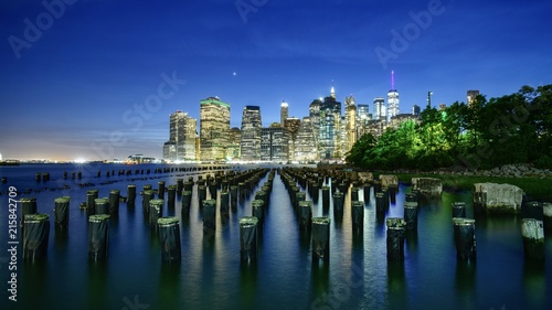 Foto Murales New York Waterfront Night