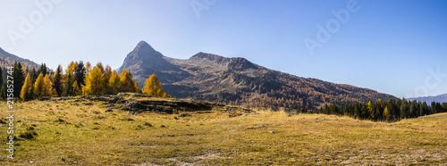 Foto Spatwand Blauwe hemel Colbricon pass, Paneveggio-Pale di San Martino Natural Park, Italy