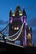 Tower bridge lit at night