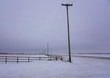 Telephone Pole and Snow in Wide Open Prairies in Manitoba Canada