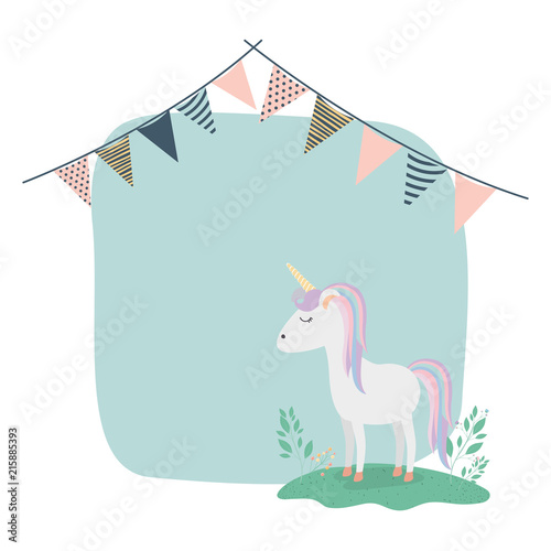frame with unicorn and party garlands vector illustration design