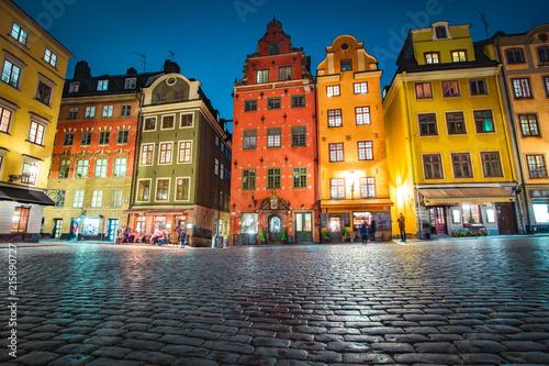 Foto Spatwand Stockholm Gamla Stan at twilight, Stockholm, Sweden