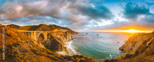 Leinwandbild Motiv California Central Coast with Bixby Bridge at sunset, Big Sur, California, USA