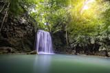 Landscape photo. Waterfall beautiful insoutheast asia. Erawan waterfall kanchanaburi Thailand.