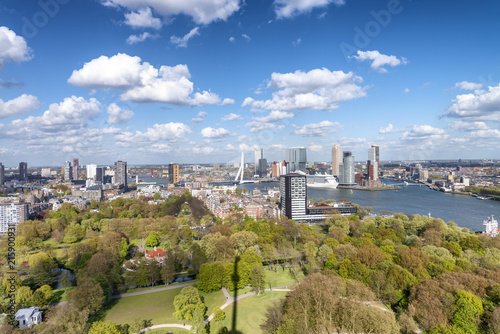 In de dag Rotterdam ROTTERDAM, THE NETHERLANDS - MARCH 2015: Aerial view of city buildings on a sunny day. Rotterdam is a major city in Holland
