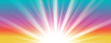 Abstract  summer background. Shiny hot sun lights horizontal banner illustration with colorful vibrant color tones. - 215901187