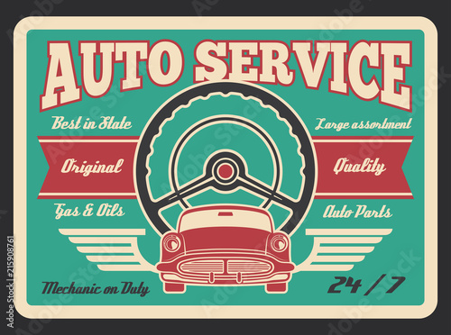 In de dag Vintage Poster Vector vintage poster for car auto service