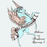 Beautiful T-shirt print vector design with blue unicorn. Believe in handsome unicorns