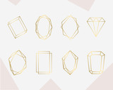 Luxury gold geometric frame collection. Design for wedding card, invitations, logo, book cover and poster - 215911169