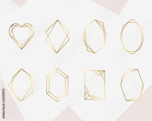 Luksusowa kolekcja złota ramka geometryczna. Projekt na kartę ślubu, zaproszenia, logo, okładka książki i plakat