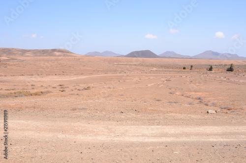 Foto Spatwand Blauwe hemel Dry Desert Landscape