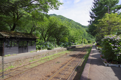 Foto Spatwand Spoorlijn 山間にあるローカル線の駅